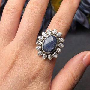 Jewelry - Sterling silver kyanite and white crystal ring